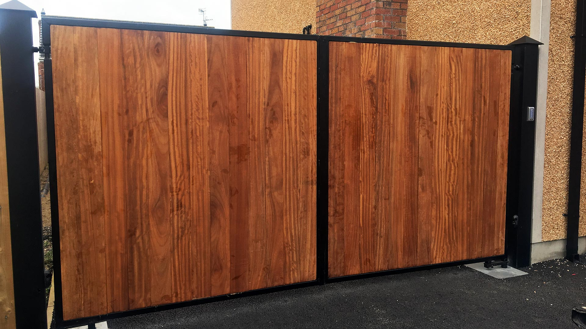 Wood Panel Steel Framed Automated Gates Northern Ireland